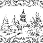 Sketsa Pemandangan Desa Yang Indah