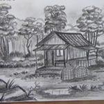 Sketsa Pemandangan Di Desa