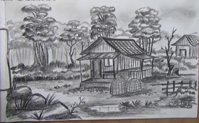 Sketsa Pemandangan Indah