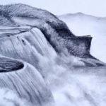 Sketsa Pemandangan Gunung Air Terjun