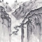 Sketsa Pemandangan Gunung Dan Air Terjun