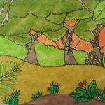 Sketsa Pemandangan Hutan Berwarna