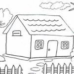 Sketsa Pemandangan Rumah