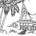Sketsa Pemandangan Rumah Adat