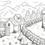 Sketsa Pemandangan Rumah Dan Gunung