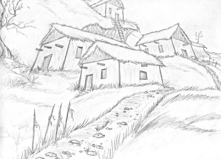 Sketsa Pemandangan Rumah Pohon
