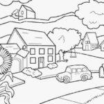Sketsa Pemandangan Rumah Sederhana