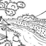 Sketsa Pemandangan Sawah Di Desa
