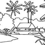 Sketsa Pemandangan Sekitar Rumah