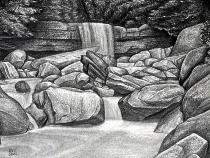 Sketsa Pensil Pemandangan Air Terjun