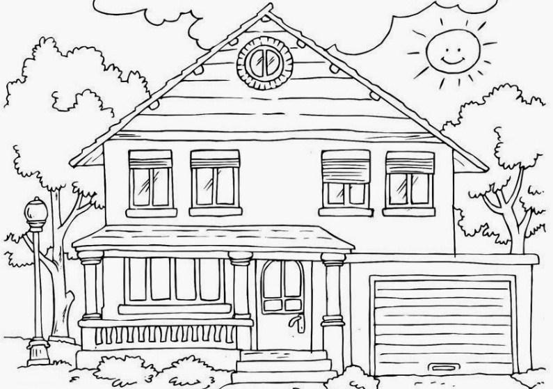Sketsa Rumah Dan Pemandangan