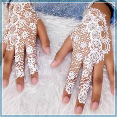 foto henna pengantin warna putih Terbaru