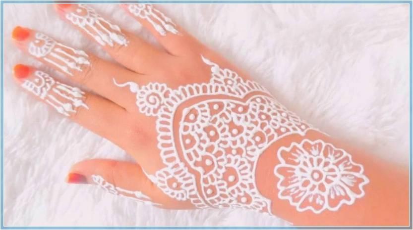 gambar henna pengantin warna putih Terbaru
