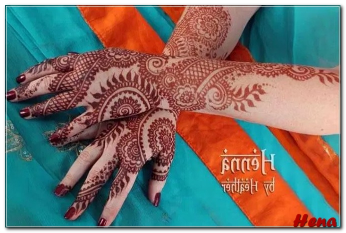 gambar henna tangan warna merah