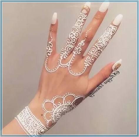 motif henna pengantin warna putih Terbaru