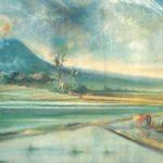 sketsa gambar pemandangan dengan cat air