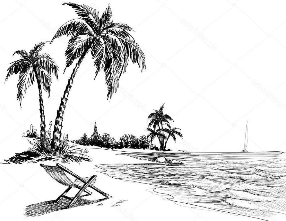 Contoh Sketsa Pemandangan Pantai