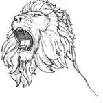 Sketsa Gambar Kepala Singa Mengaung