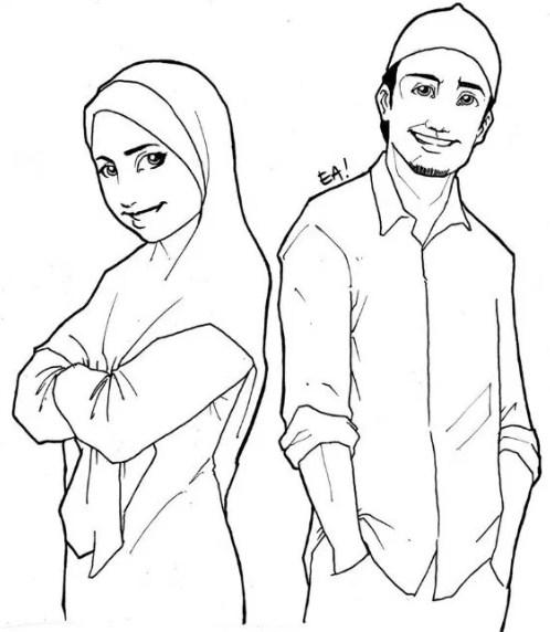 Sketsa Gambar Muslimah Berpasangan
