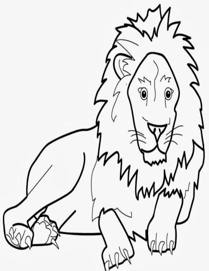 Sketsa Gambar Singa Duduk