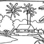 Sketsa Pemandangan Di Pantai