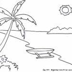 Sketsa Pemandangan Pantai Model