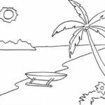 Sketsa Pemandangan Pantai Sederhana