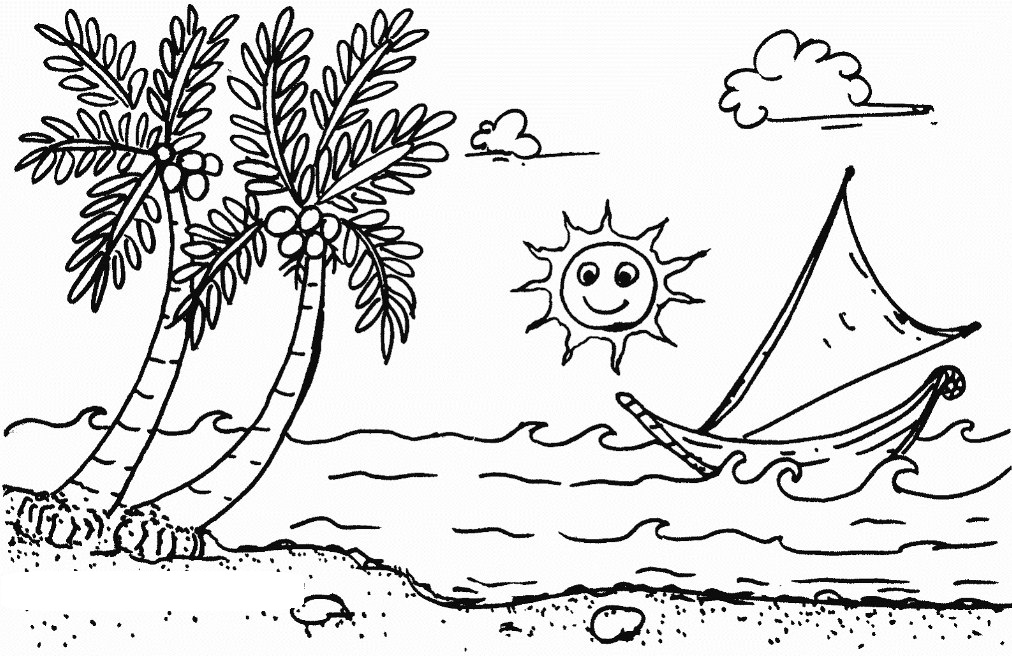 Sketsa Pemandangan Pantai Yang Indah