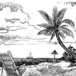 Sketsa Pemandangan Tepi Pantai
