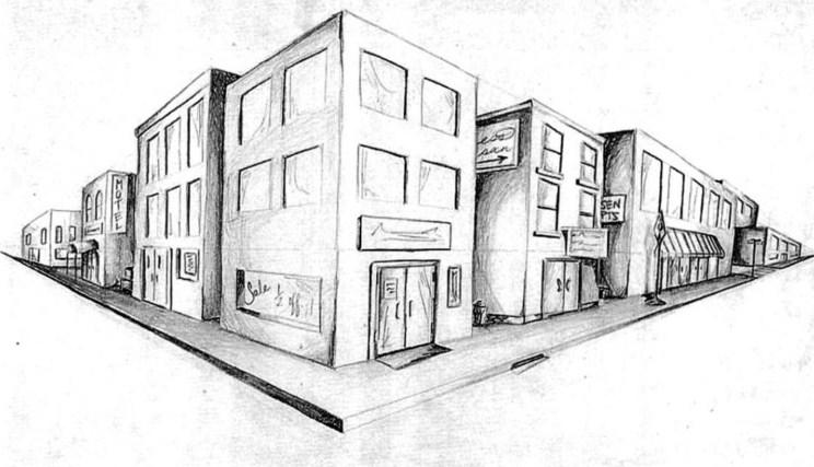 Gambar Sketsa Kota Simple