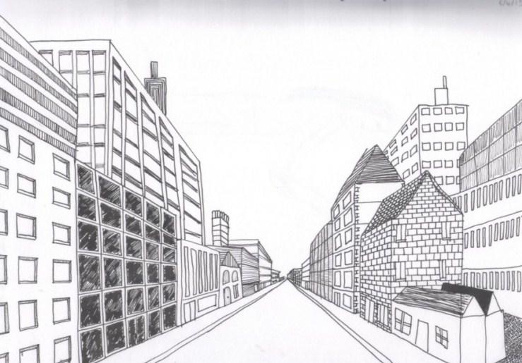 Gambar Sketsa Kota Yang Mudah
