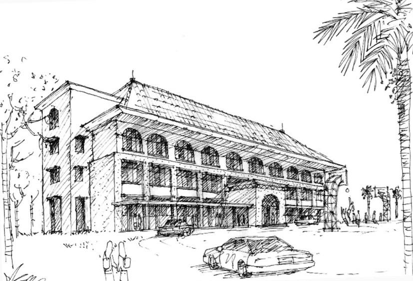 Contoh Gambar Sketsa Gedung Sekolah