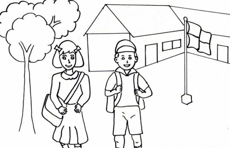 Gambar Sketsa Anak Sekolah Sd