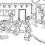 Gambar Sketsa Kebersihan Sekolah