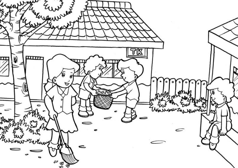 Gambar Mewarnai Lingkungan Sekolah