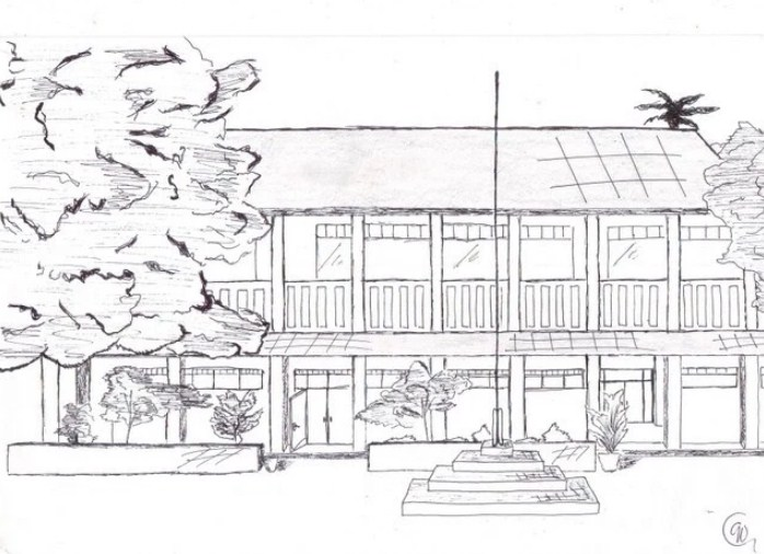 Gambar Sketsa Lingkungan Sekolah