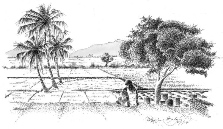 Gambar Sketsa Lukisan Pemandangan Alam