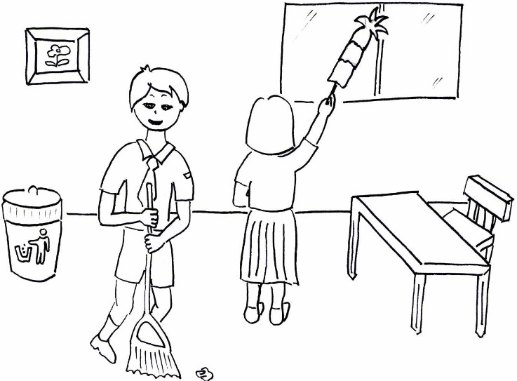 Gambar Sketsa Sekolah Bersih