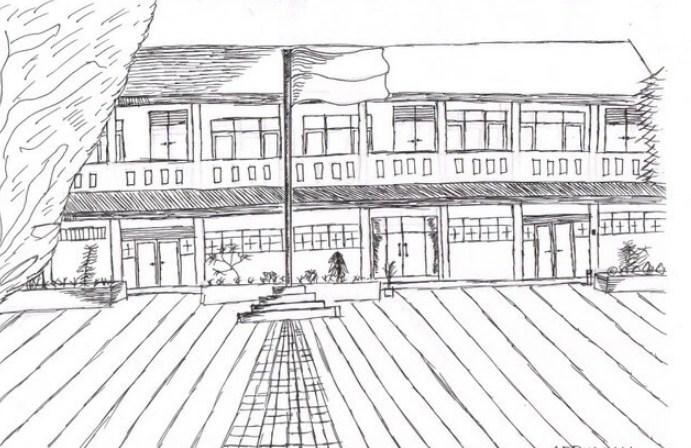 Gambar Sketsa Sekolah Tingkat