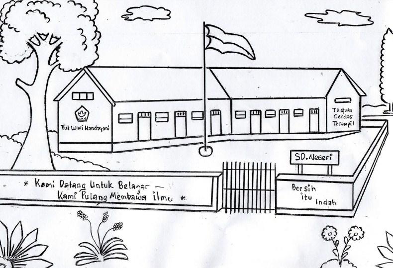 Gambar Sketsa Sekolahan