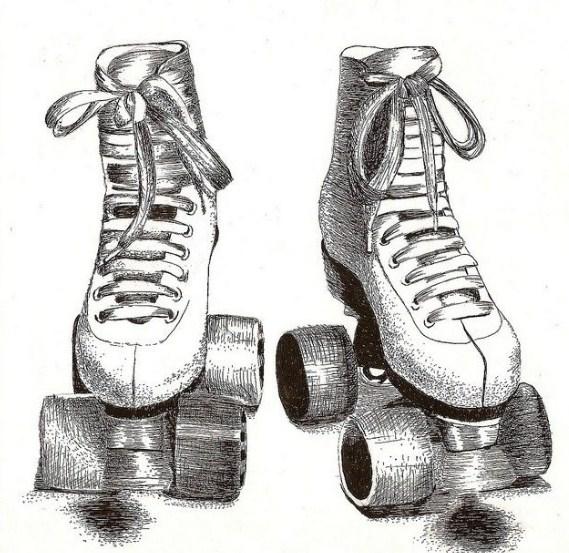 Gambar Sketsa Sepatu Roda