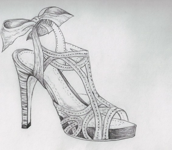 Gambar Sketsa Sepatu Wanita