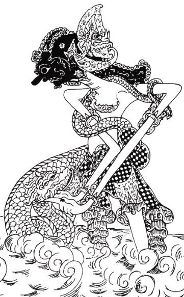 Gambar Sketsa Wayang Werkudara