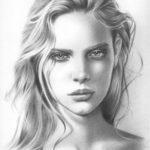 Lukisan Sketsa Wajah Wanita Cantik