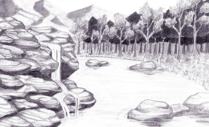 Sketsa Lukisan Pemandangan Air Terjun