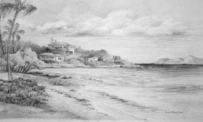 Sketsa Lukisan Pemandangan Pantai