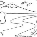 Sketsa Lukisan Pemandangan Pegunungan