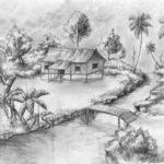Sketsa Lukisan Pemandangan Sederhana
