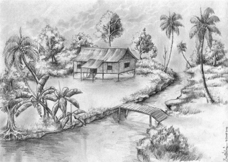 Gambar Pemandangan Air Terjun Dengan Pensil