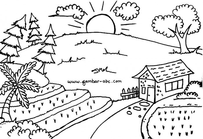 30 Gambar Sketsa Lukisan Pemandangan Wajah Bunga Bingkaigambarcom